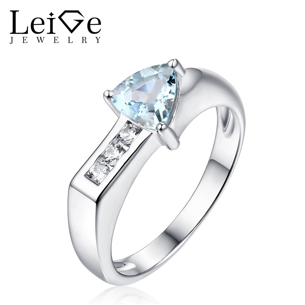 Leige Jewelry Triangle Cut Aquamarine Ring Natural Blue Gemstone 925 Sterling Silver Wedding Rings for Women Anniversary Gift