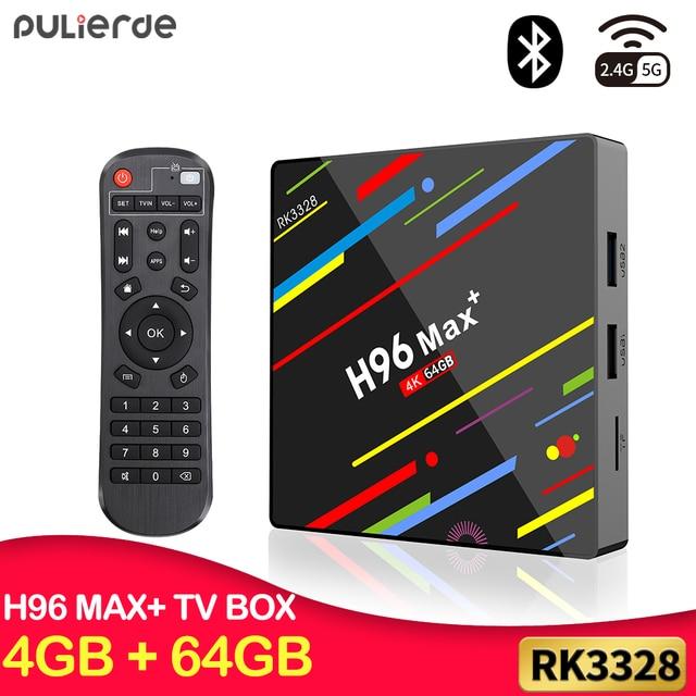 Boîtier TV PULIERDE Android 9.0 H96 MAX PLUS 4 GB 64 GB RK3328 H2.65 4 K 2.4 GHz/5 GHz lecteur multimédia décodeur WIFI boîtier TV intelligent 32 GB