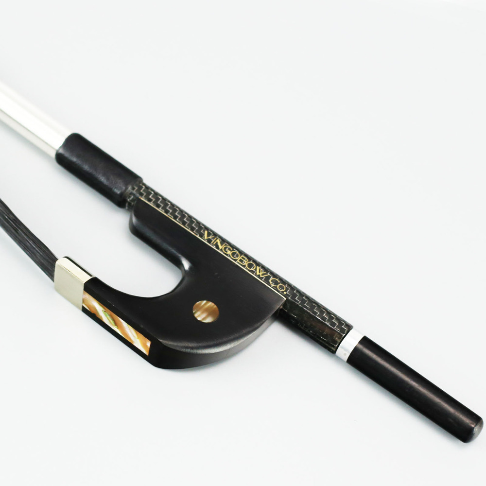 200BGB 4/4 Storleksvävt Carbon Fiber BASS BOW Ebony Groda och Skruv Nickel Silver Fitted Natural Horsehair Bass Parts Tillbehör