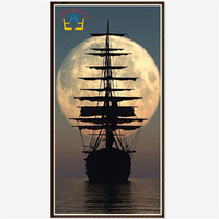 3d Diy Diamond Painting Cross Stitch Rhinestones Crystal Diamond Embroidery Mosaic Needlework Moon And Ship Wall