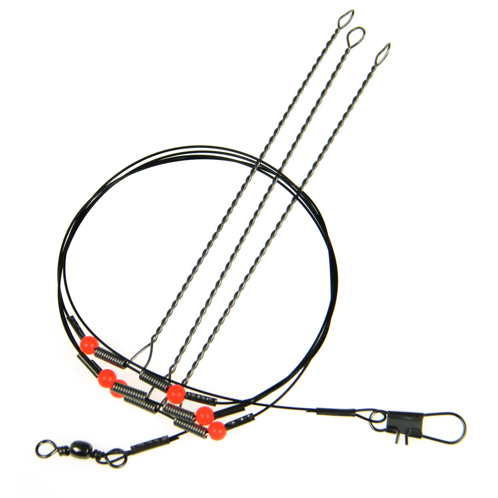 10 pcs lot 39in 3 arms stainless steel fishing wire leader for Steel fishing leader