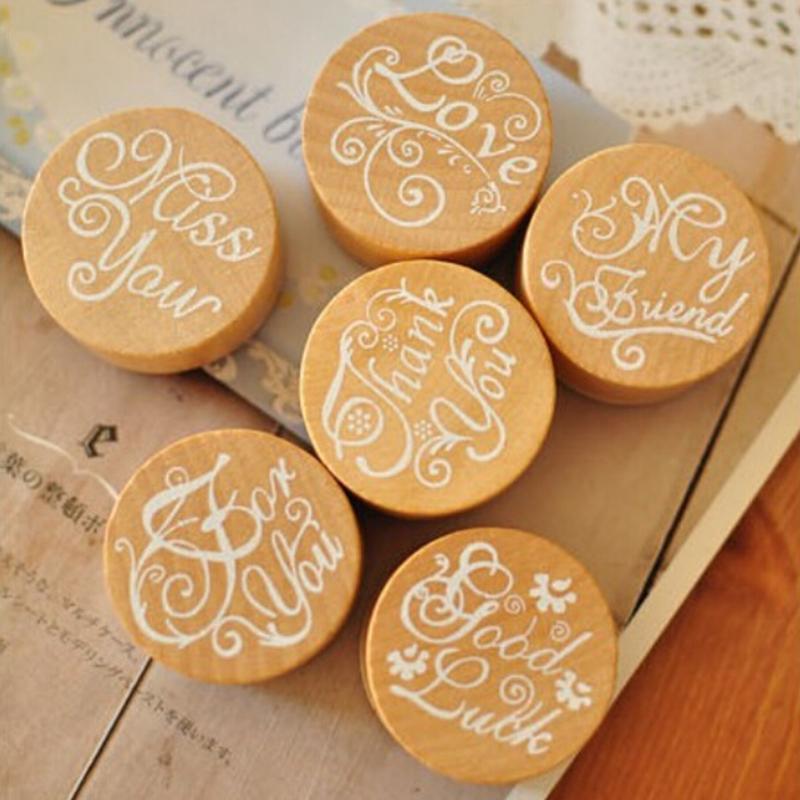 1Pcs DIY Floral Flower Pattern Stamps Vintage Round Wooden Rubber Stamp Scrapbook Love you Thank you Letter Stamp