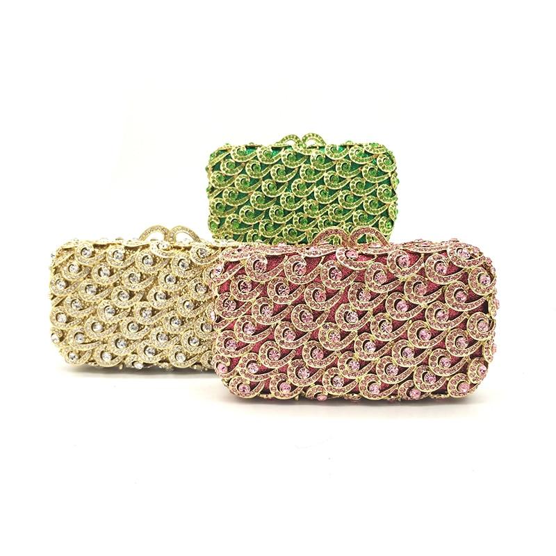 Diamants Pink 2 Main Noce send De Mariée Gold Soirée Designer color Femmes 1 À Élégant Green Cristal 4 Sac Pictures Color Luxe Embrayages Sacs 3 color color XIP1Z