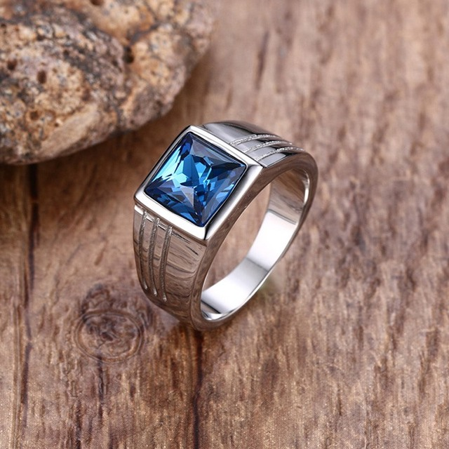 Fashion Mens Rings Stainless Steel Statement Ring with Rectangle Blue Stone Wedd