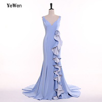 High Quality Mermaid Flower Ruffle Evening Dresses 2018 Wedding Party Dress Sexy Sleeveless Long Bridesmaid Dresses V Neck YeWen