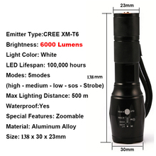 UniqueFire 6000LM Powerful Flashlight 5 Modes Zoomable Waterproof Cree XM-L T6 Led Flashlight Torch,Convex Len Lamp By 18650/AAA