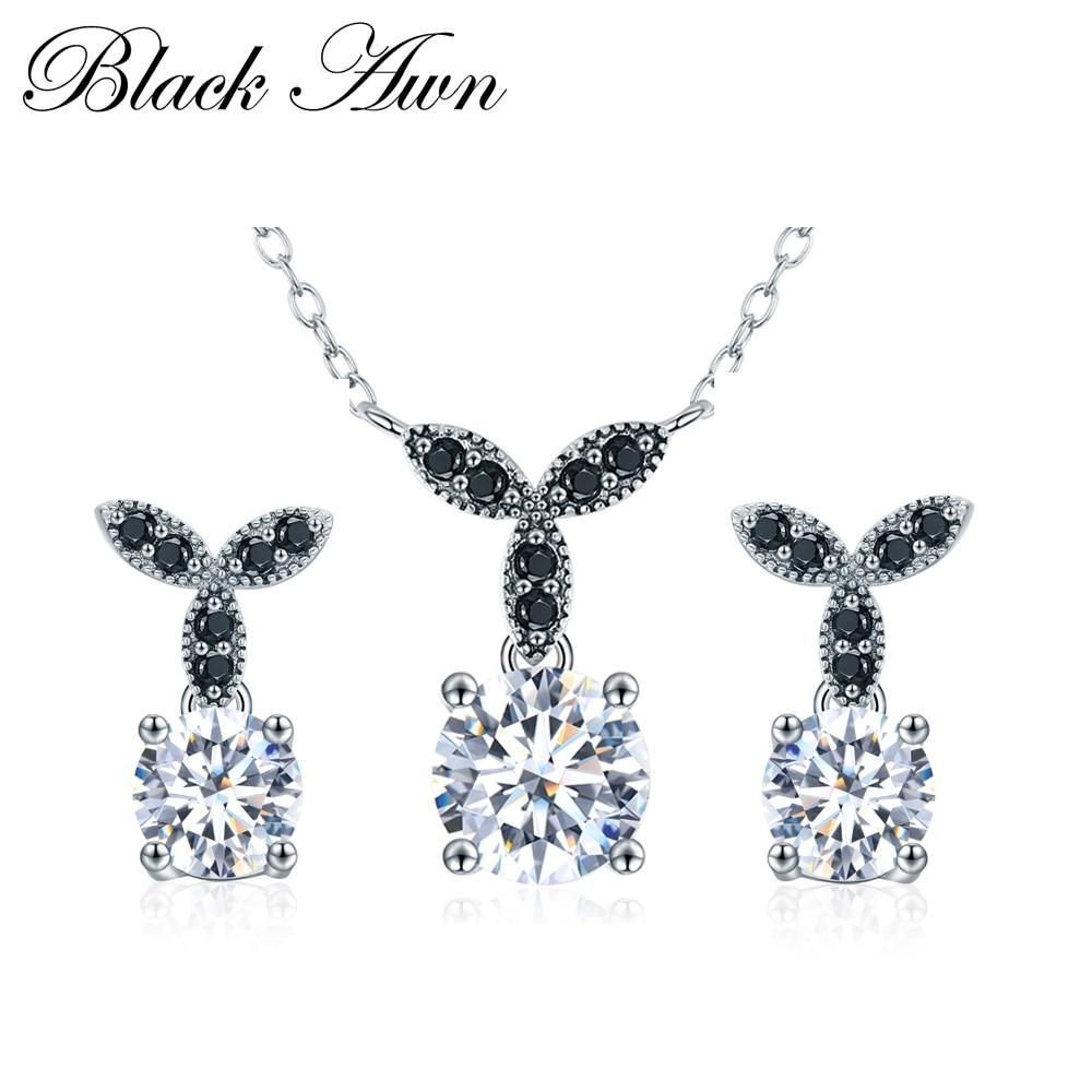 [BLACK AWN] 925 Sterling Jewell Fine Jewells Sets Trendy Anglement - Bizhuteri të bukura - Foto 1