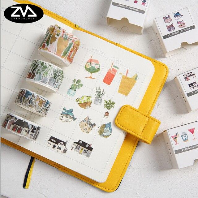 1x 80 sheets kawaii sticker collage series washi tape diy