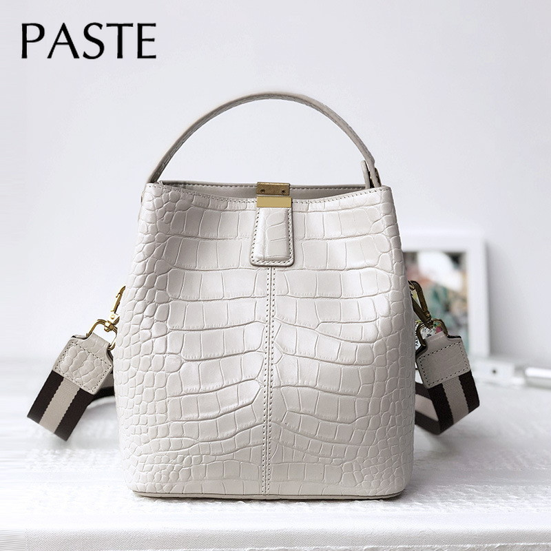 Elegant Chic Handbag Crocodile Pattern Cowhide Leather Women s Bucket Shoulder Bag 2 Strap Ladies Crossbody