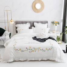Korean Princess Style White Pink Gray Flowers Embroidery 100% Cotton Girl Bedding set Duvet Cover Bed Skirt Sheet Pillowcase