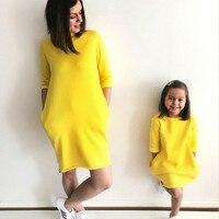 e612767e0 2018 vestidos de la madre hija conjunto familia manga corta amarillo  vestido y. 2018 Mother Daughter Dresses Family Matching Outfits Yellow  Short Sleeve ...