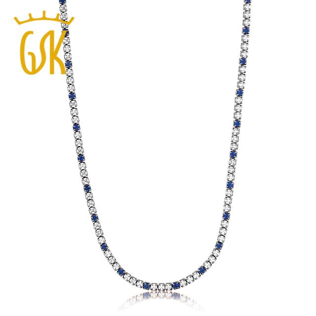 """Gemstoneking cerca enlace caja de diseño hermoso 16 """"blanco y azul zafiro simulado tenis collar con cierre de langosta"""