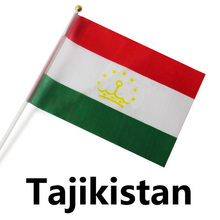 FREE SHIPPING 14x21cm Hand Waving National Flag,10pcs/polybag,TAJIKISTAN(China)
