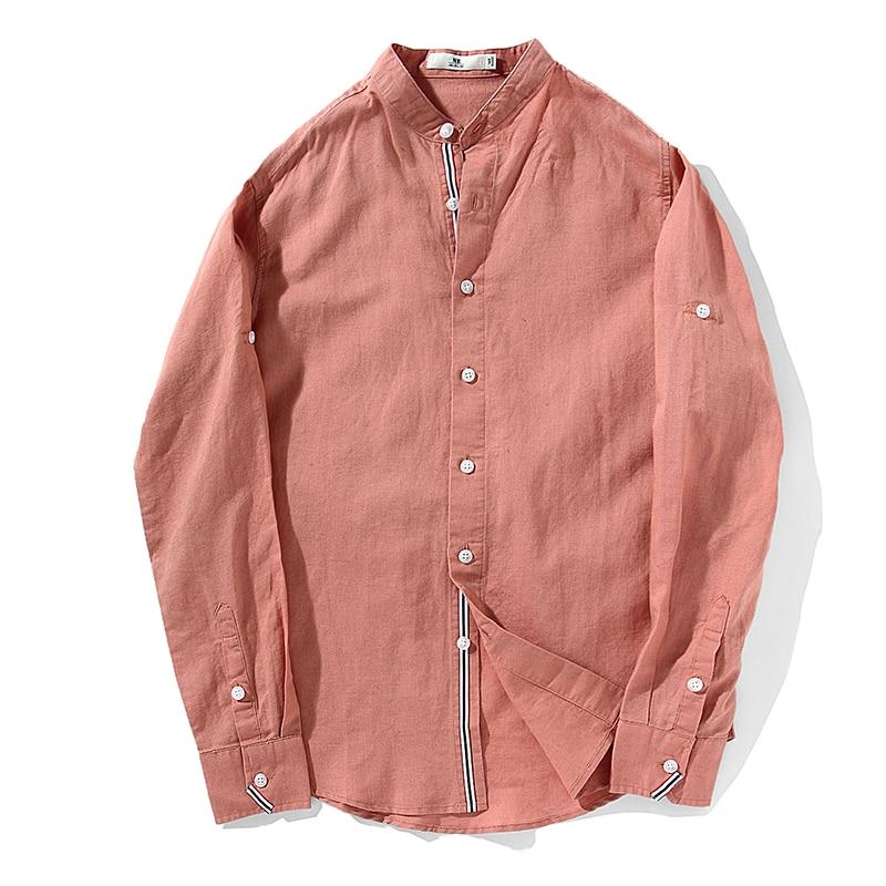 Mens le camice di vestito 2017 primavera nuovi arrivi stand solid completa del manicotto del retro di modo di giovane uomo casual in cotone e lino abbigliamento uomo - 3