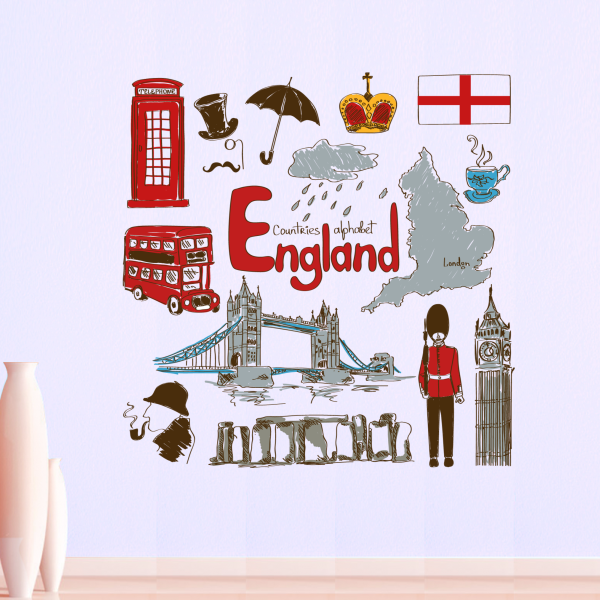 England Colorful Illustration Travel The Word Landmark Wall Sticker Wedding Decor Vinyl Waterproof Wallpaper