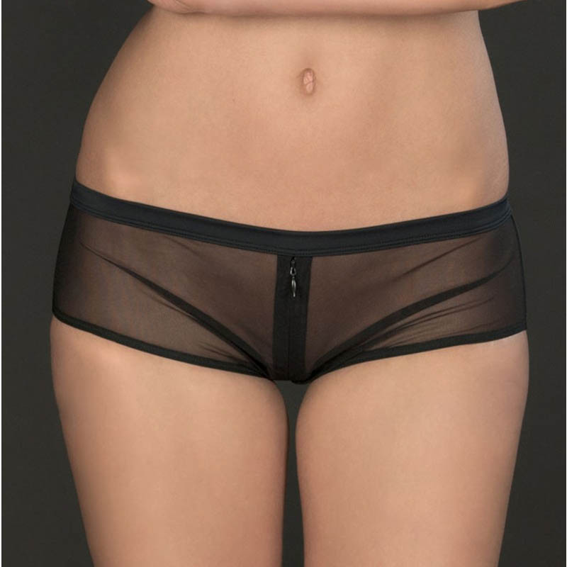 Sexy Women Perspective Mesh Lace Zipper Opened Cross Crotch Mini Briefs Low Waist Exotic Lingerie Ladies Boxer Shorts Panties