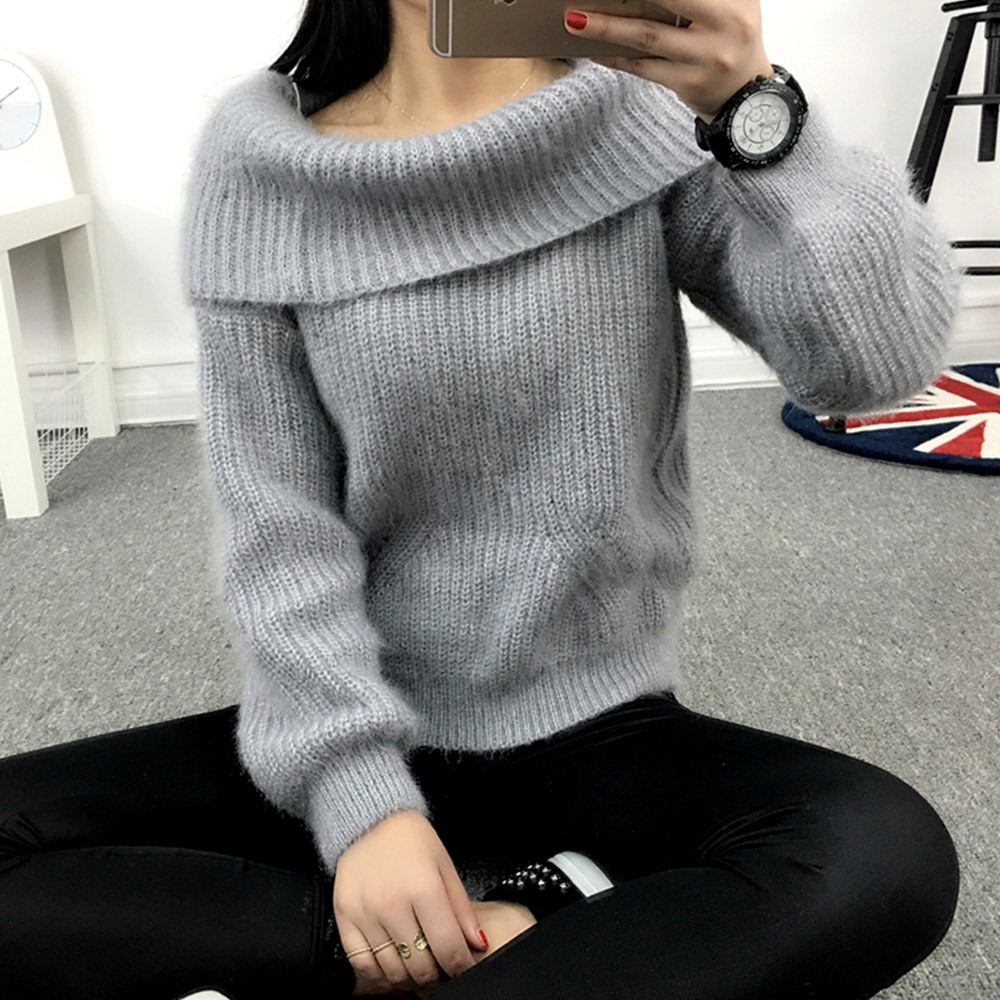 2018 Winter Casual Elegant Beige Office Lady Vintage Women Tops Slim Thick Plain Slash Neck Female Fashion Gray Sweet Sweaters 2