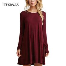 TEXIWAS 2018 Spring Autumn New fashion irregular long-sleeved dress women's stitching long-sleeved loose dress women's clothing