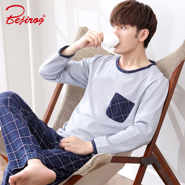 Bejirog long sleeve pijama cotton pajamas sets for male plus size sleep  clothing a9df1ee26