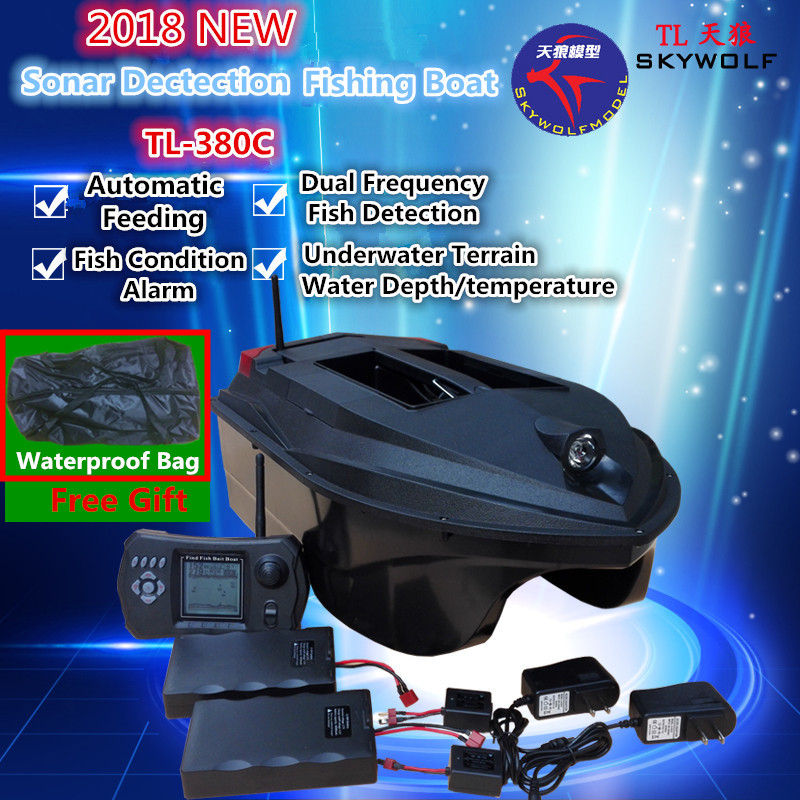 Free Bag Sonar Dectection Fishing Finder Dual Body Remote Control Nesting Fishing Boat TL-380C Automatic Send hook RC Bait Boat