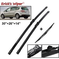 Erick LHD do Limpador Dianteiro Traseiro Wiper Blades Set Para Ford S-max 2006 2007 2008 Windshield Windscreen Frente janela traseira 30