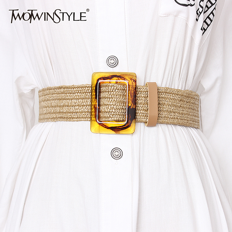 TWOTWINSTYLE Summer High Waist Slim Belt For Women Striped Wide Belts Vintage Dresses Accessories Female 2020 Fashion New