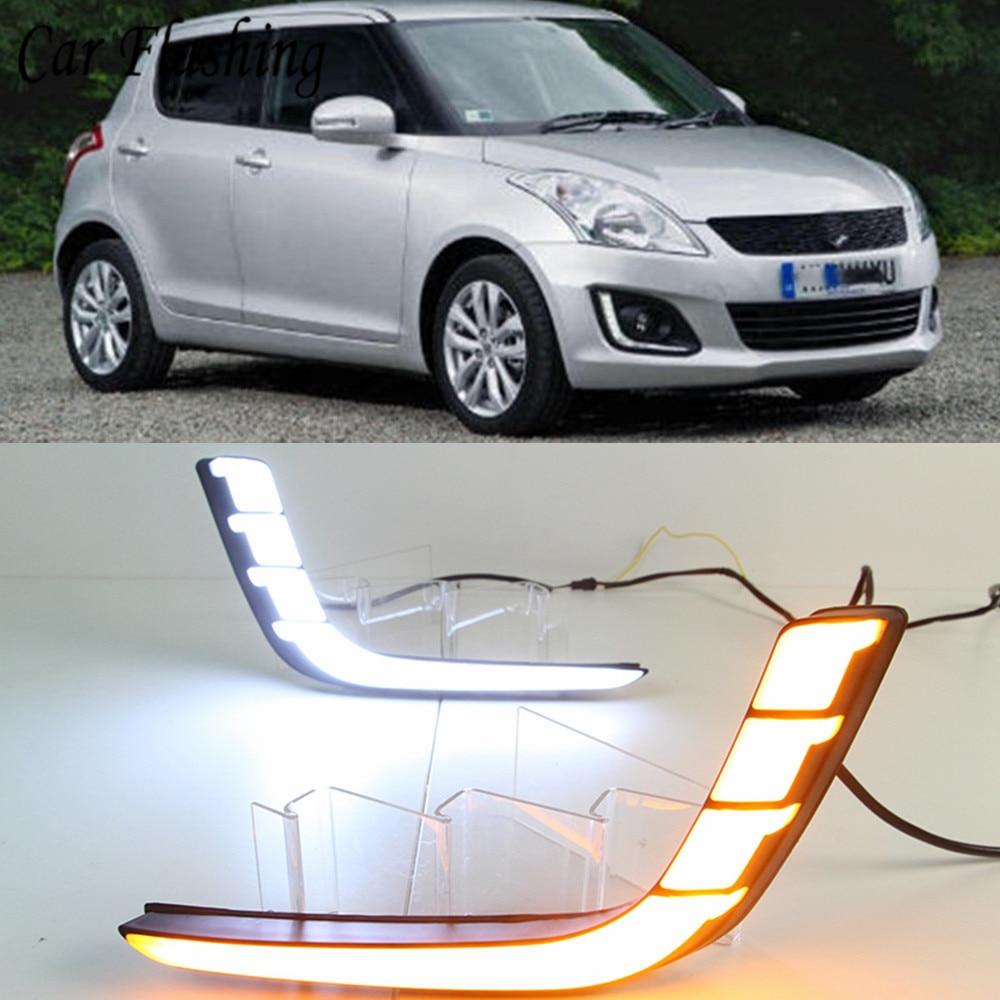 car Flashing1 set accessories For Suzuki Swift 2014 2016 DRL Driving Daytime Running Light DRL car