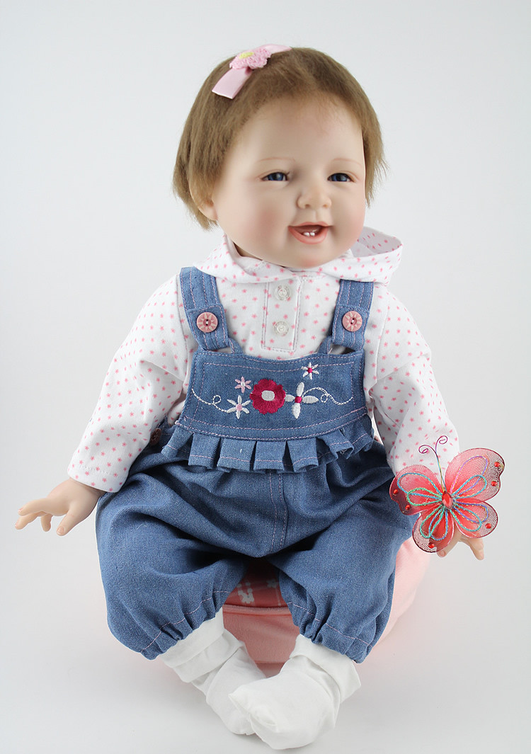 22 inch silicone Reborn baby dolls girls toy toddle newborn lifelike baby with clothes baby gift bonecas brinquedos22 inch silicone Reborn baby dolls girls toy toddle newborn lifelike baby with clothes baby gift bonecas brinquedos