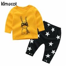 Kimocat Girls Clothing Set 2pcs 100% Cotton Long Sleeve Cartoon Printing Baby Girl Clothes Newborn Clothes Infant Clothing Sets