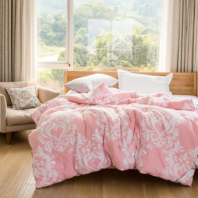 2018 Leaves Print Pink Thick Winter Comforter Quilting Sanding Cotton Fabric Polyester Filler Queen King Size Brushed Fabric2018 Leaves Print Pink Thick Winter Comforter Quilting Sanding Cotton Fabric Polyester Filler Queen King Size Brushed Fabric