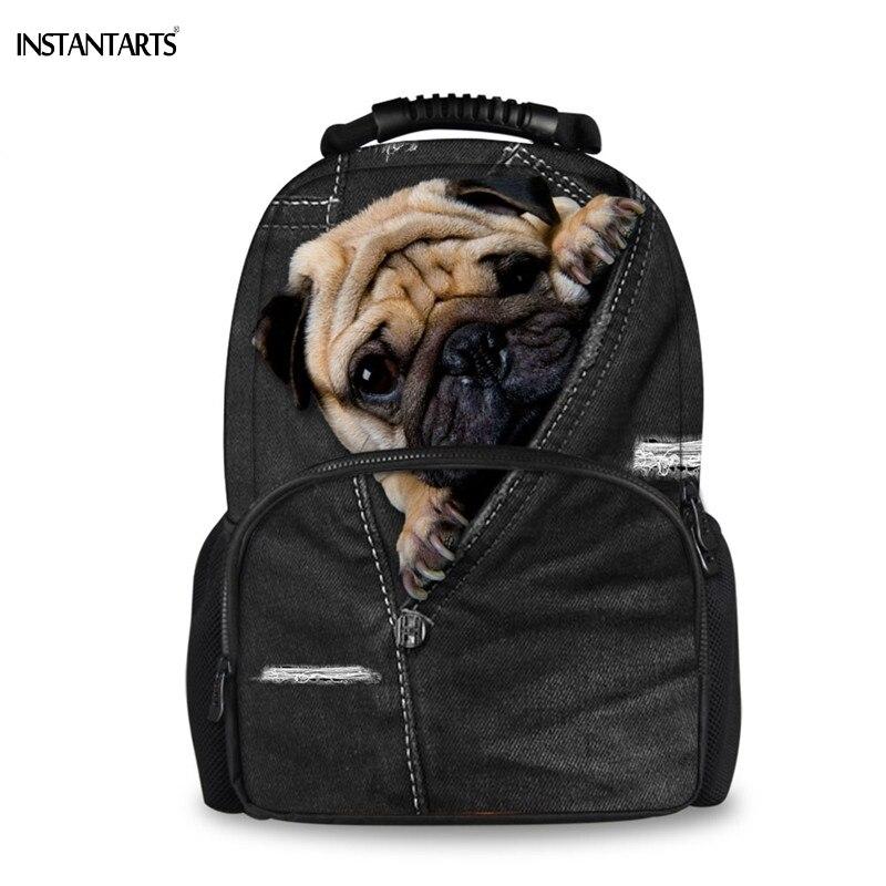 INSTANTARTS Funny 3D Fake Black Denim Pug Dog/Puppy Print Large Felt Backpacks For Boys Girls College Students Lap Top Rucksacks
