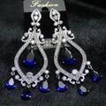 Винтаж Национальный Стиль ААА Цирконий Свадьба Ювелирные Изделия Длинные Серьги С Голубой Камнями Для Женщин
