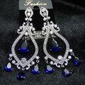 Estilo Nacional do vintage AAA Cubic Zirconia Wedding Party Jóias Grandes Brincos Longos Com Pedras Azuis Para As Mulheres