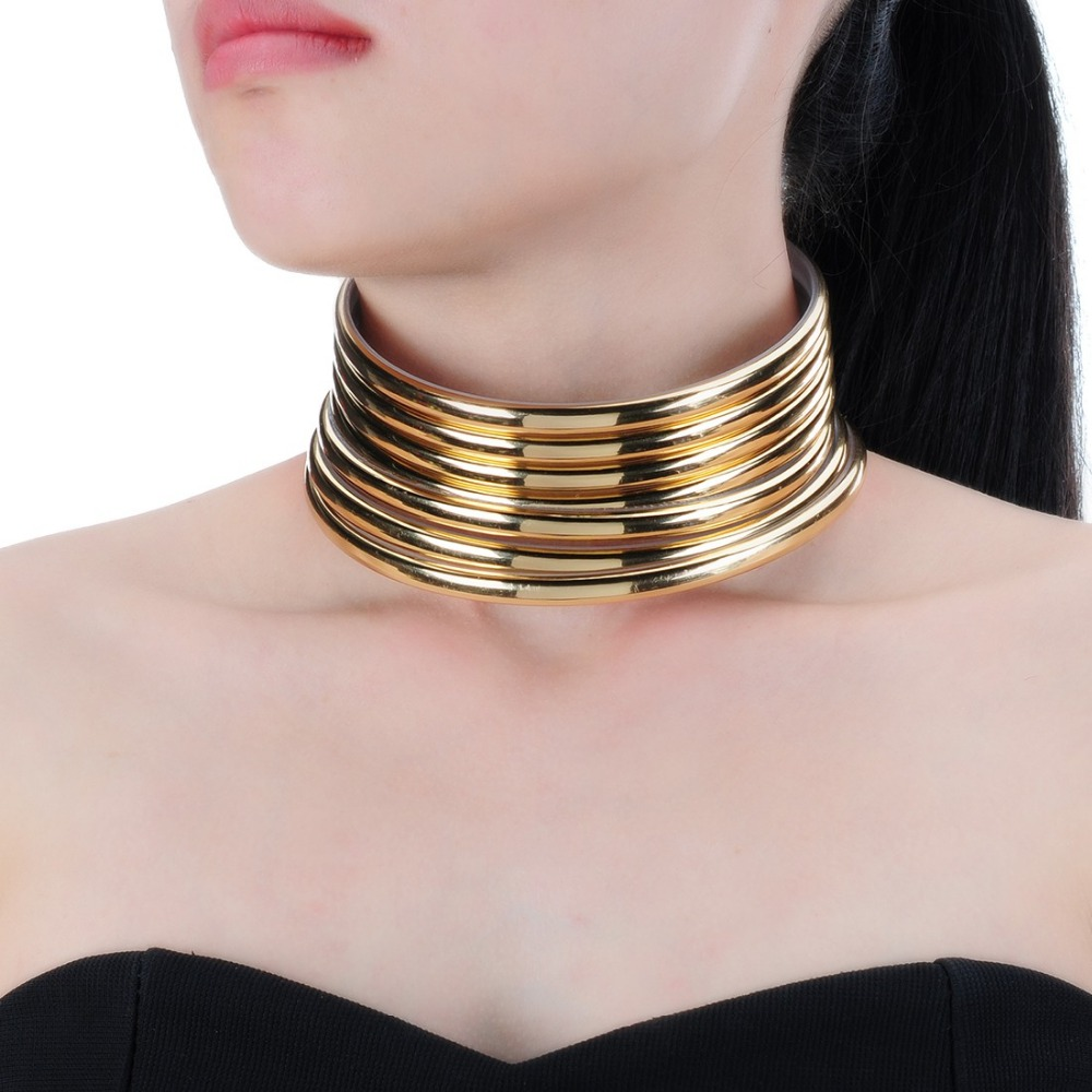New Arrival jewelry Punk Gothic Gold & Silver Choker Resin Collar Necklace for Women