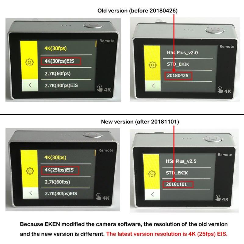 EKEN H5S Plus caméra d'action Ultra HD écran tactile Ambarella A12 EIS 4 k/30fps 720 p/200fps 30 M étanche go casque pro sport cam - 4