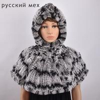 Real FUR Hats&Scarves Winter New Warm Genuine Rex Rabbit Fur Women Hats Hooded Scarves Fashion Elegant Solid Female Pashmina