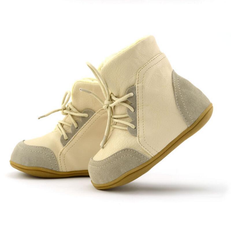 Kinder Stiefel US-Größe Kinder Stiefel für Mädchen Jungen Schuh Kinder Leder flache Schneeschuhe Warm Inside Winter Schuhe