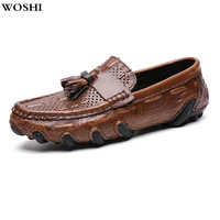 Men's Shoes genuine Leather Summer Shoes men Soft Fashion loafers Casual slip on Comfortable Men Moccasins Shoes big size 47 L5