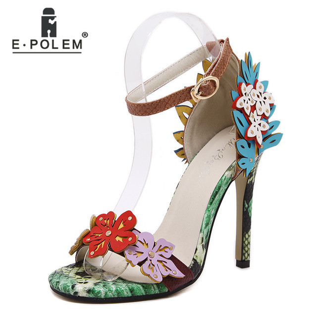 a8d7240b2ae Summer Fancy Sexy Women Super High Heel Flower Sandals Green Snake Grain Leather  Sandals Shoes Open Toe Buckle Colorful Sandals
