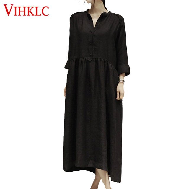 2017 Spring Summer Linen Dress Plus Size Long Sleeved Women Dress ...