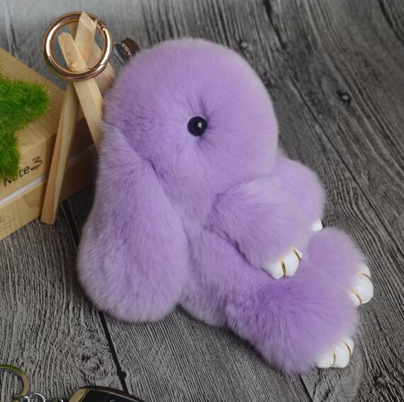 14cm Cute Pluff Bunny Keychain Rex Genuine Rabbit Fur Key Chains For Women Bag Toys Doll Fluffy Pom Pom Lovely Pompom Keyring 2