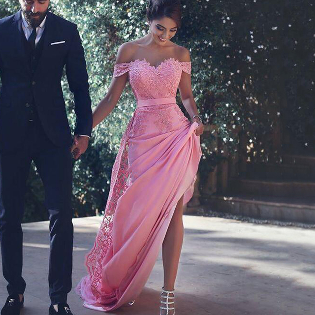 New Arrival Pink Satin Straight Evening Dresses Long 2019 Sweetheart Appliques Lace Off Shoulder Sweep Train Formal Party Gowns 1