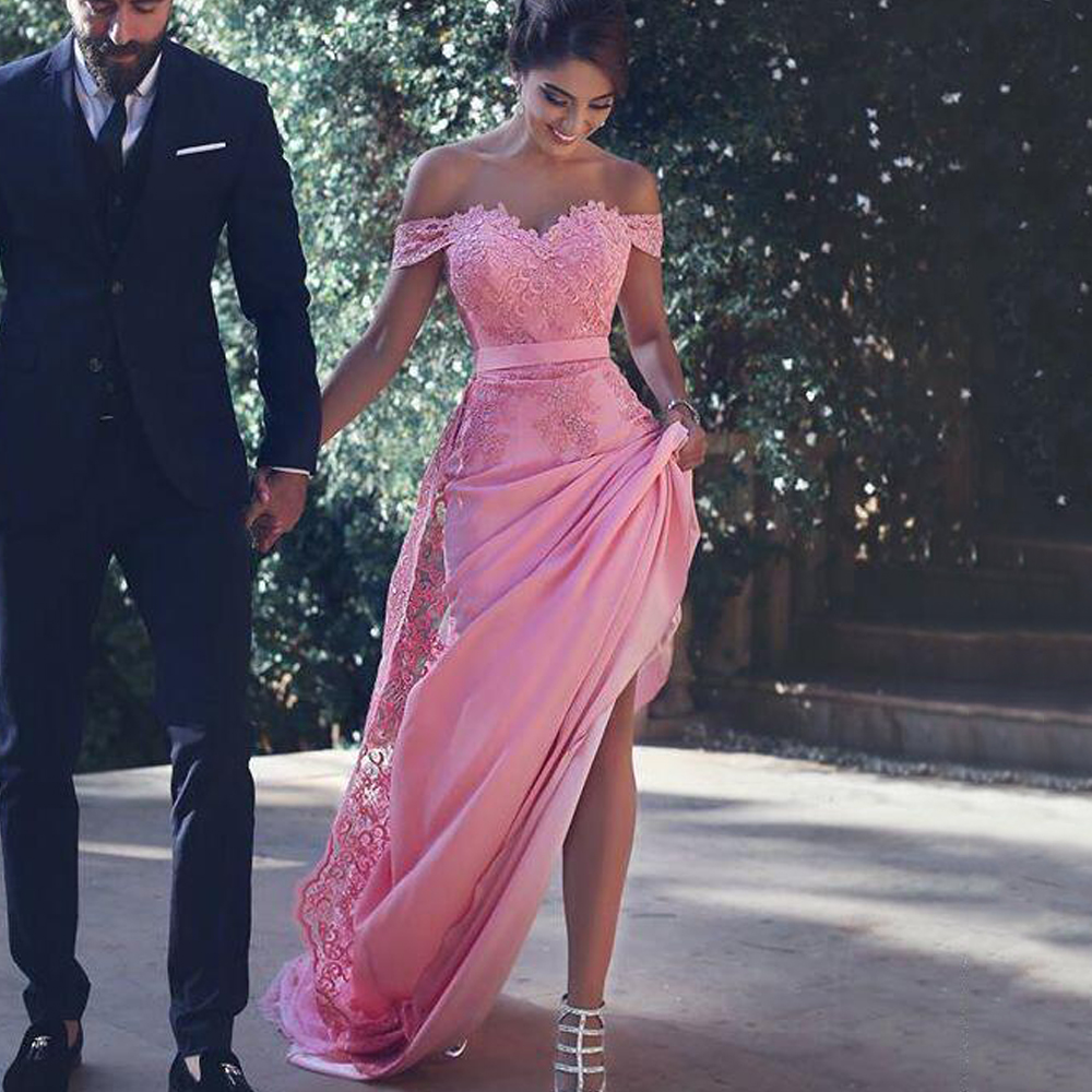 New Arrival Pink Satin Straight Evening Dresses Long 2019 Sweetheart Appliques Lace Off Shoulder Sweep Train Formal Party Gowns