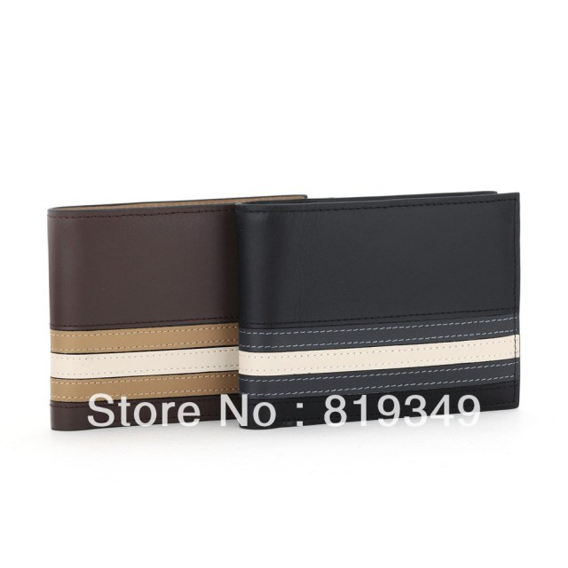 2013 NEW VANCL Men Striped Horizontal Leather Wallet Gent Leather Purses Horizontal Short Design Black/Coffee FREE SHIPPING