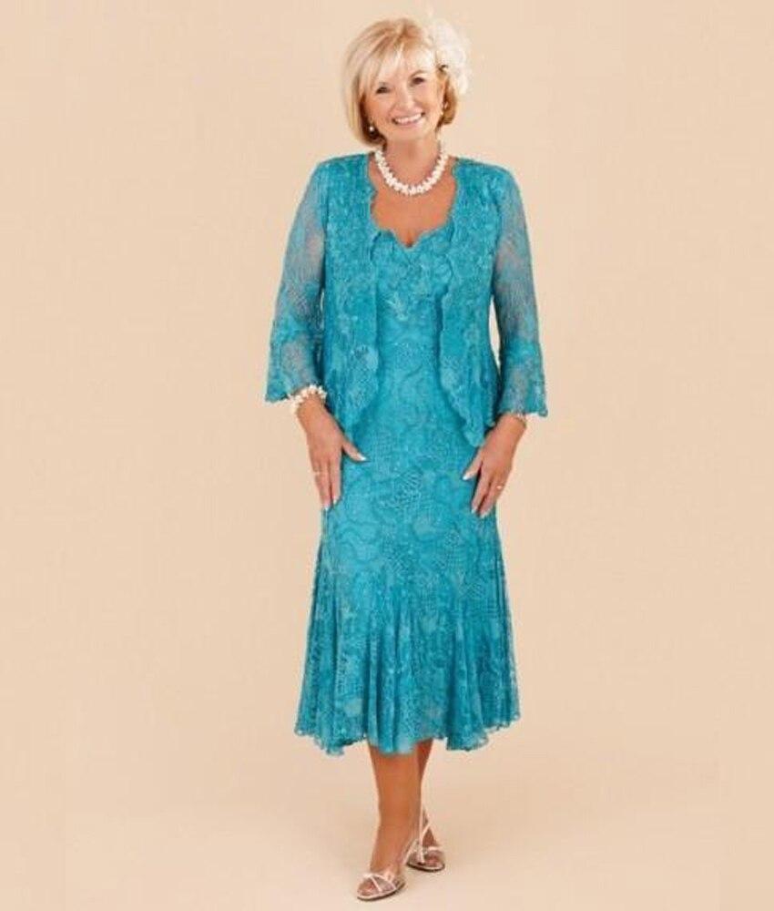 Lace Tea Length Turquoise Dresses | Dress images