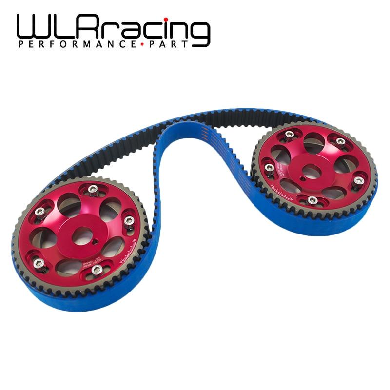 WLR RACING - HNBR Racing Timing Belt BLUE + Aluminum Cam Gear Red FOR Toyota 1JZ 1JZGTE 1JZ-GTE WLR-TB1005B+6531R wlr racing hnbr racing timing belt aluminum cam gear clear cam cover for mitsubishi lancer evolution evo 9 ix mivec 4g63