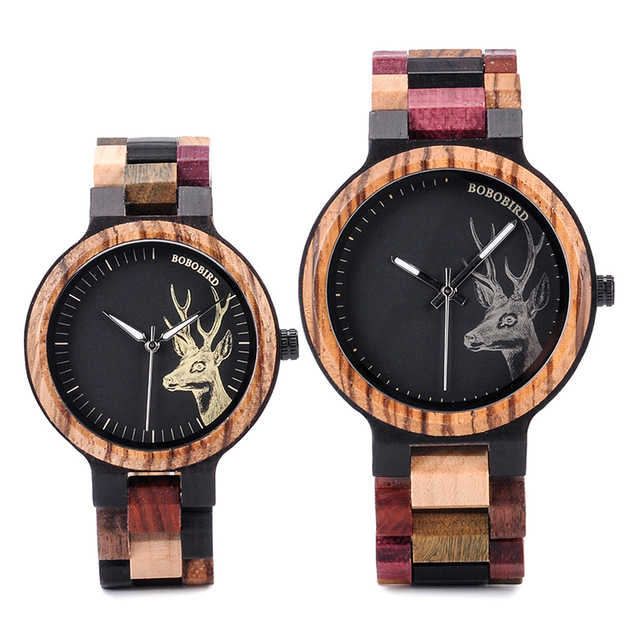 Natural Wooden Elk Dial Watch in Wood Gift Box 1
