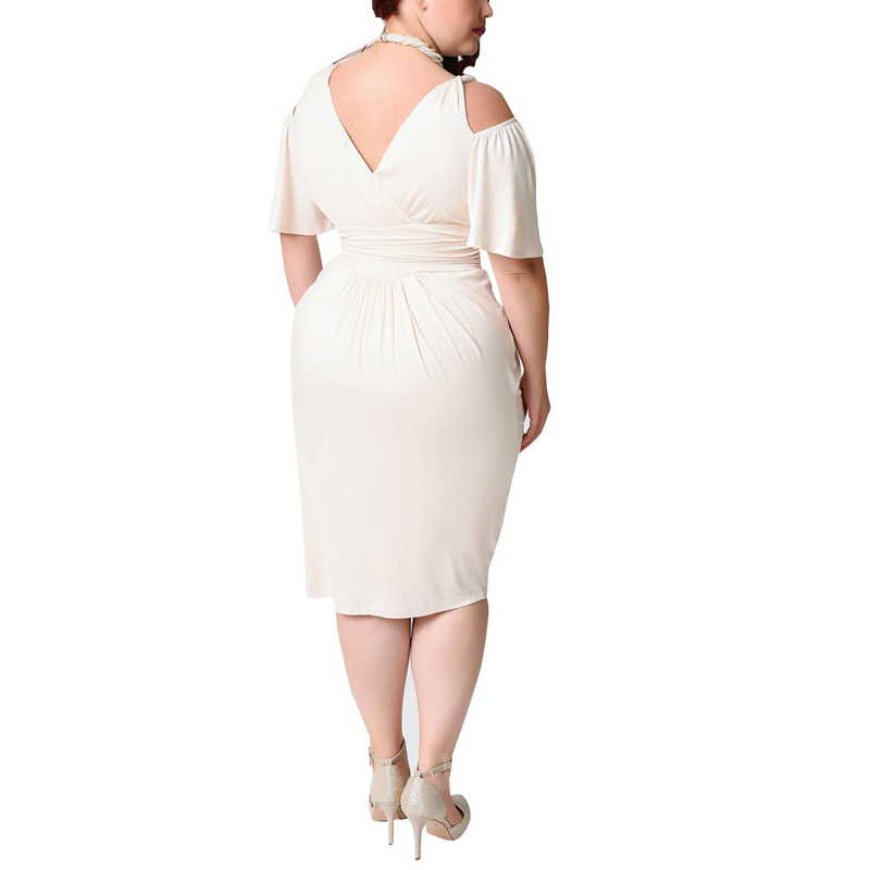 ca87626dac2 Aliexpress.com   Buy Women Plus Size 4XL 5XL 6XL Party Dresses Summer Cold  Shoulder Elegant Sheath Dress White Red Blue Black Beach Tunic Dresses Big  from ...