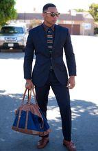 2017Latest Coat Pant Designs Navy Blue Stripes font b Men b font font b Suit b