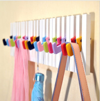 Piano Key Design Wall Hook Wooden Wall Hanger Coat Hat Hook Wall Storage Rack With 16